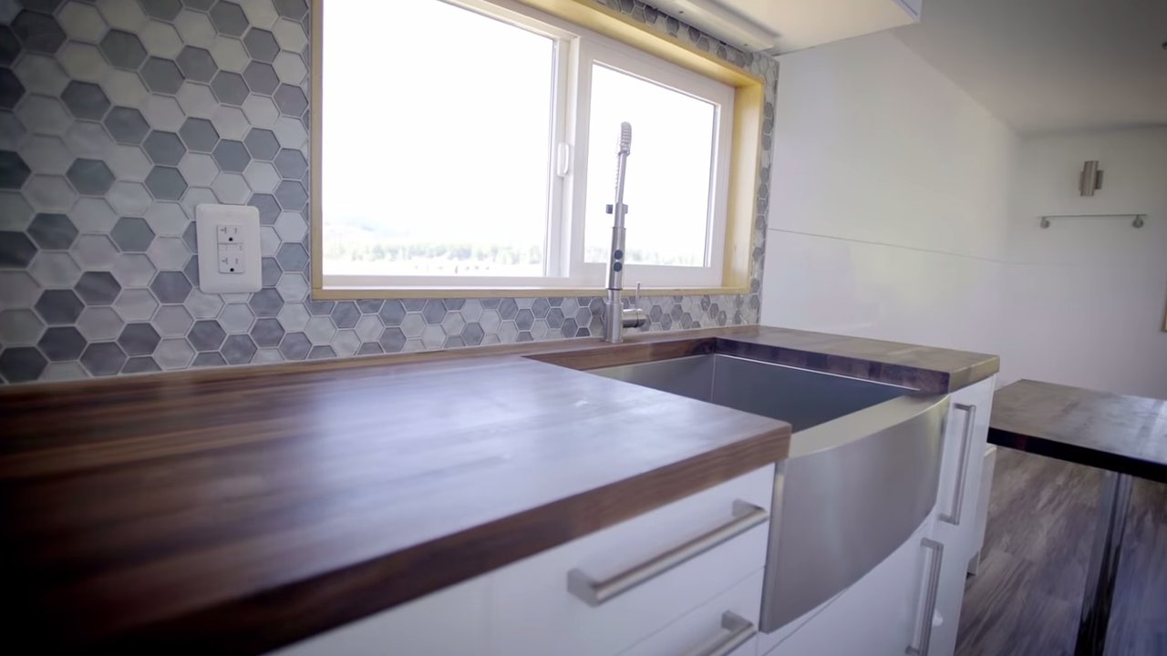 Modern THOW with dual sinks in the bathroom