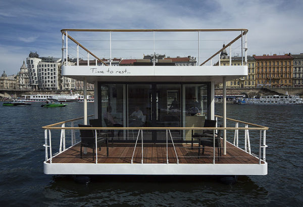 Modern Houseboat with Rooftop Deck