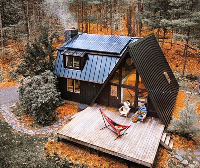 Off Grid A-frame Cabin in the Catskills Photo by Ryan Resatka via Airbnb