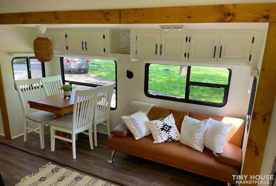 Renovated 5th Wheel RV Turned Tiny Cottage On Wheels For Sale via Rebecca Kozlansky Tiny House Marketplace 002