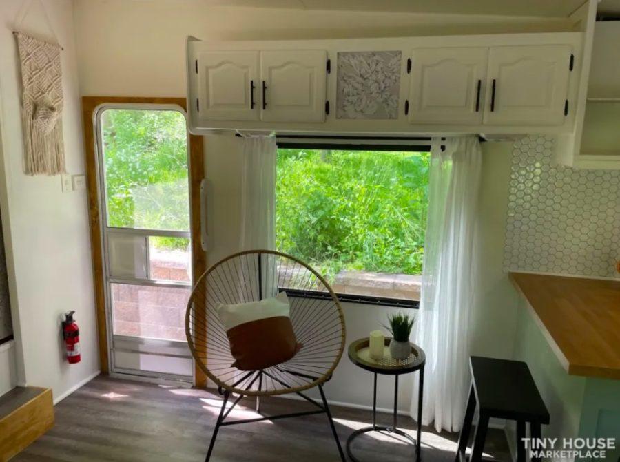 Renovated 5th Wheel RV Turned Tiny Cottage On Wheels For Sale via Rebecca Kozlansky Tiny House Marketplace 004