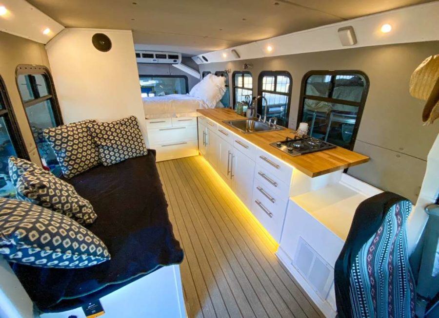 Shuttle Bus To Overland Camper Conversion For Sale via Conversion Trader 002