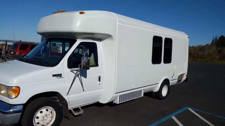 Shuttle Bus To Stealth Motorhome Conversion For Sale via Robert Braden YouTube 002