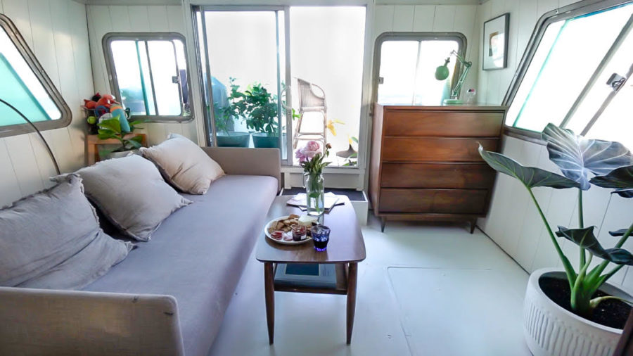 Six Years on Her 70s Party Boat Turned Tiny Home 3