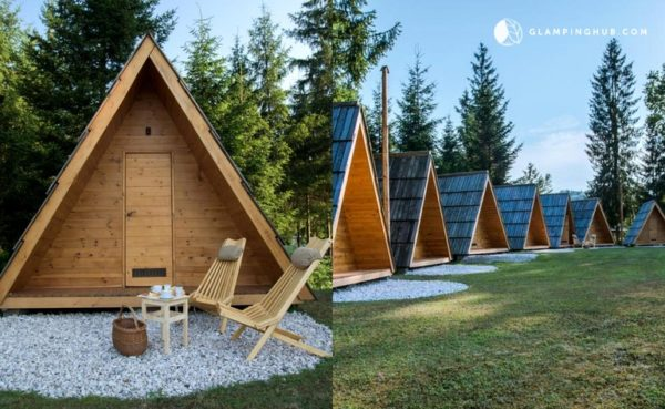 Stylish A-frame Pod Cabins with Private Bathrooms in Slovenia 001