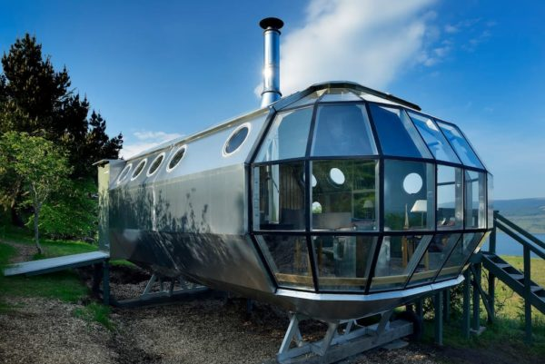 The Airship 2 Tiny House Vacation in Scotland Exterior Side