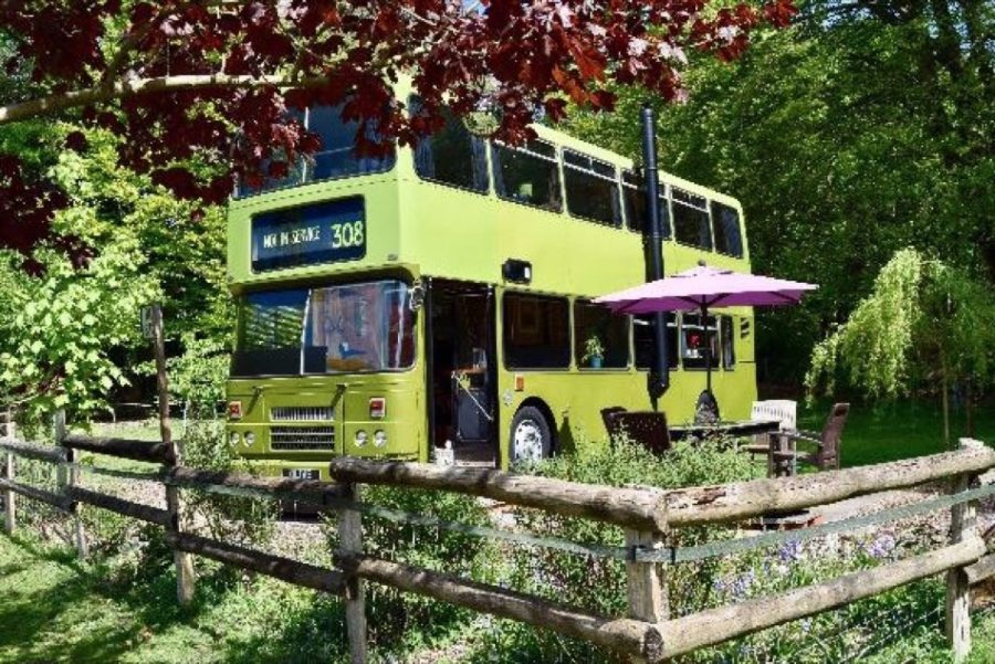 The Olive Bus Cottage Vacation in England Double Decker Bus via QuirkyAccomm 001