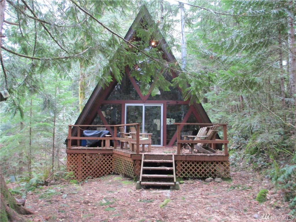 Tiny a frame cabin in hoodsport wa for A frame log cabin plans