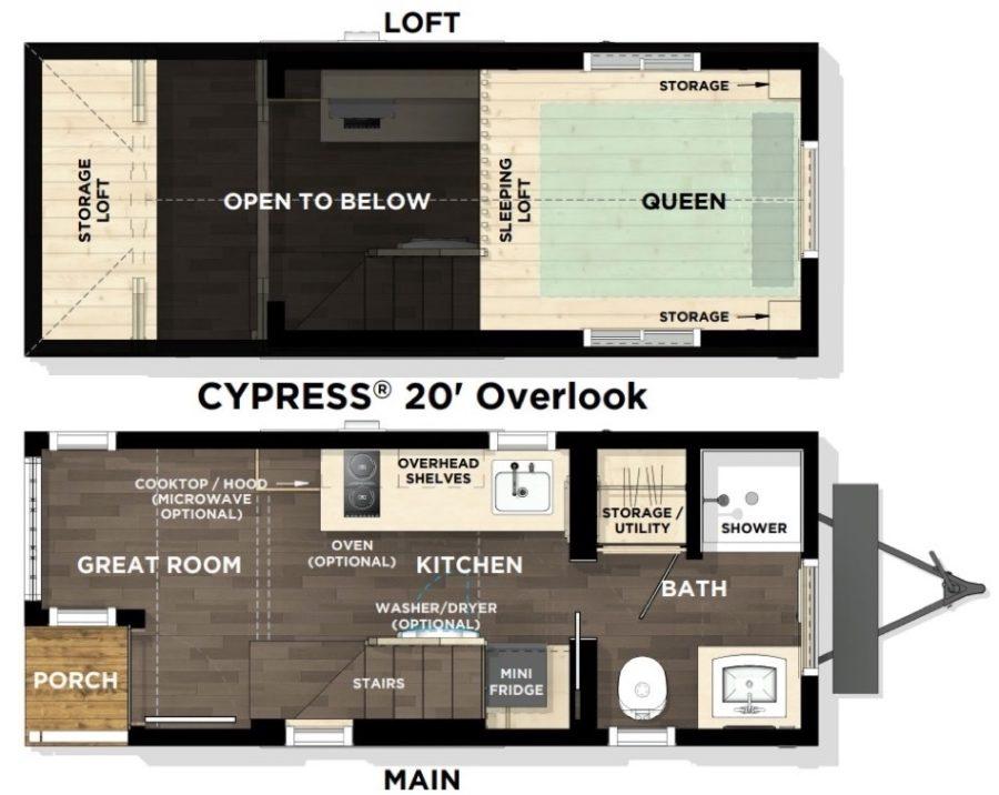 Tumbleweed Cypress 20-ft Floor Plan