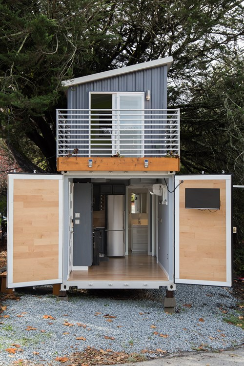 Two story shipping container tiny house for sale for Small 2 story homes
