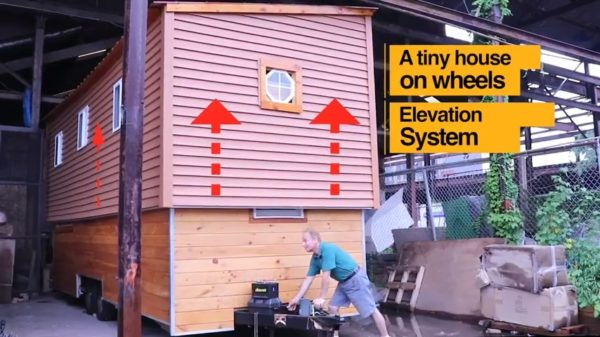 Two-Story Tiny House on Wheels with Electric Lift for Second Floor 002