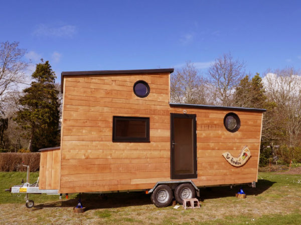 Ty Kobar Tiny House on Wheels with Custom Spiral Staircase to the Loft 0011