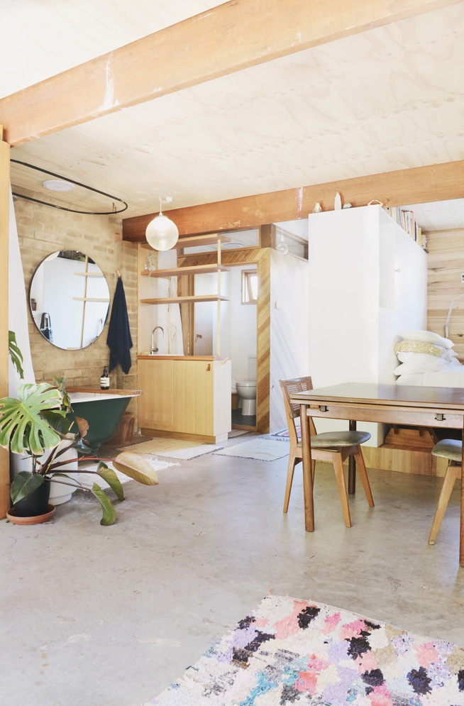 Woman Converts Backyard Garage Into Studio
