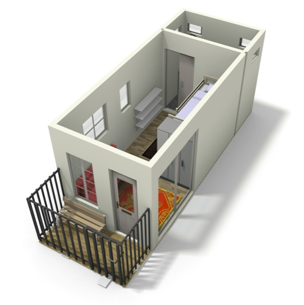 Brightbunk tiny house design with bunk beds for Small house plan design 3d