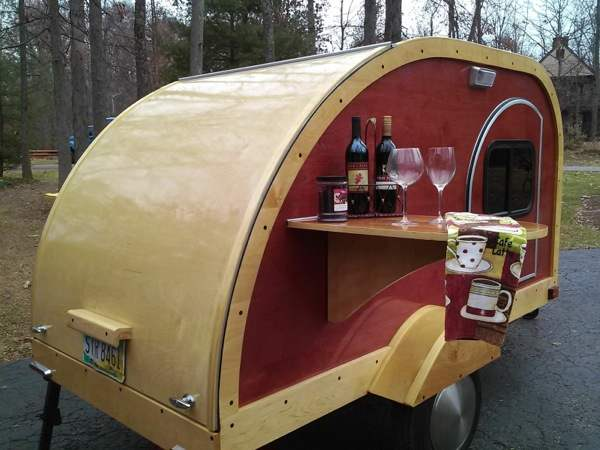Custom Woody Teardrop Camper For Sale 001