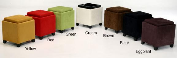 Furniture For Small Space Microfiber Storage Ottomans