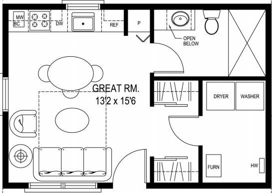 Sidekick Homes: 396 sq ft Grandpas Cabin Blueprint