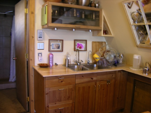 Green A-frame Tiny House Kitchen