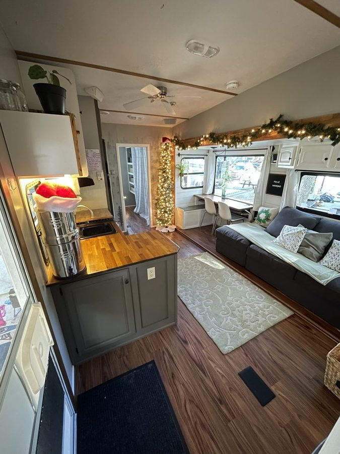 Travel Nurse, Student/SAHM and 2 Kids in Their Renovated 5th Wheel 10