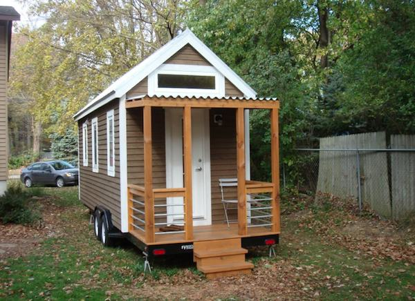 Sideview of Tiny house on a Trailer by Itty Bitty House Co.