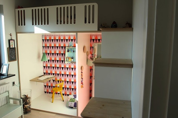 Kids' multifunctional playroom study dress up shelving sleeping loft all in one room