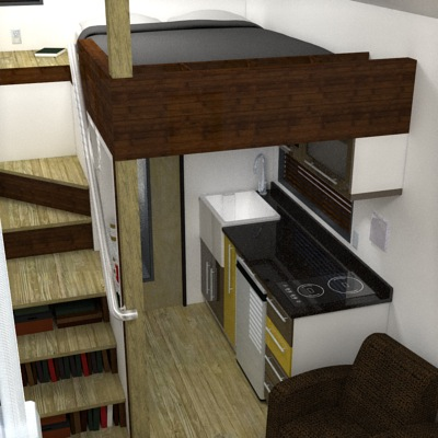 View of Sleeping Loft and Kitchen