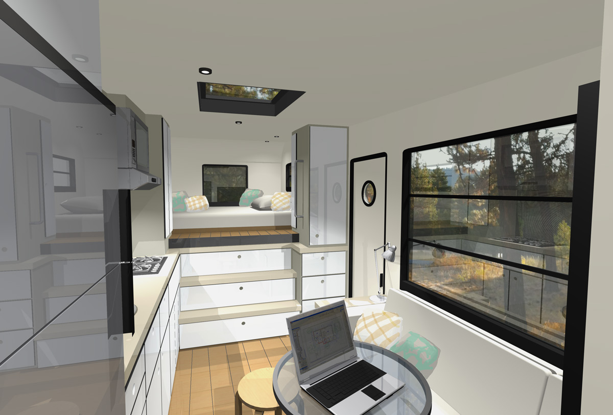 Custom truck rv modern motorhome living or a tiny house for Interior motorhome designs