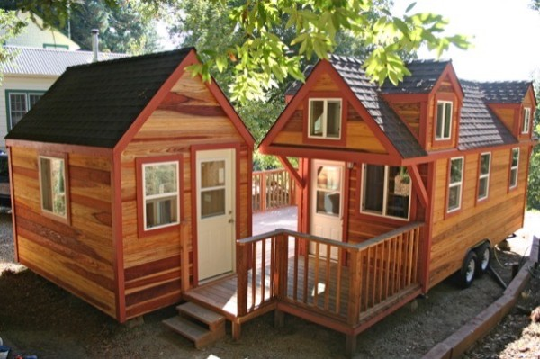 Companion Studio Tiny House: Two Tiny Homes Adjoined by a Deck - Image by Molecule Tiny Homes