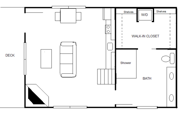 840 sq ft 20 39 x 30 39 cottage for two for Home plans for 20x30 site