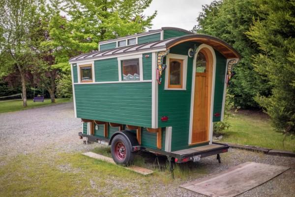 Man's Handmade Gypsy Wagon Micro Cabin
