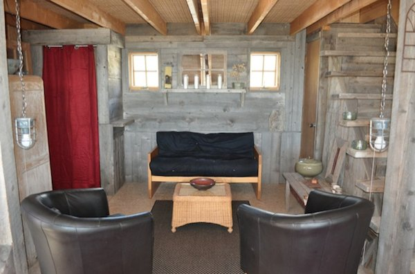 Small rustic cabin living area