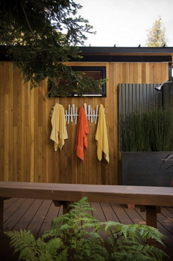Outdoor Shower in Tiny Modern Studio Cabana