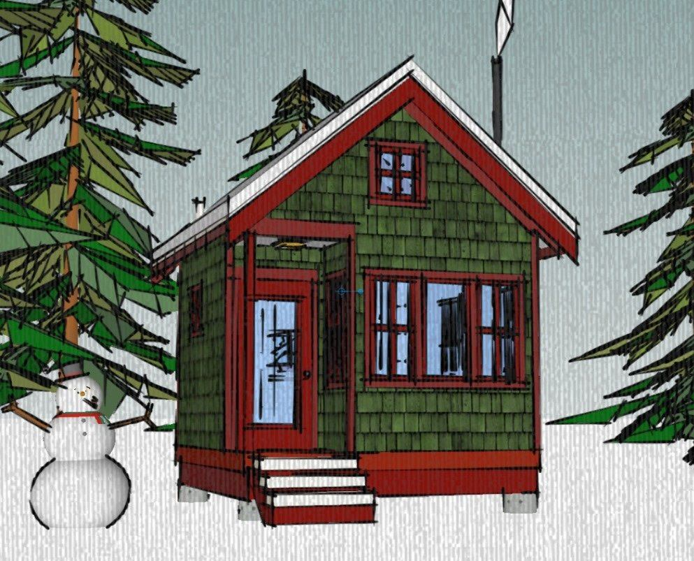 Small Home Plans: The Borealis Writer's Cabin: 12'x12' Tiny House Plans