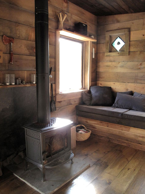 living room in a rustic small cabin