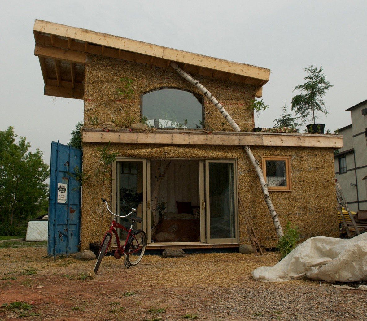 Solar Tiny Container House Built With Cob