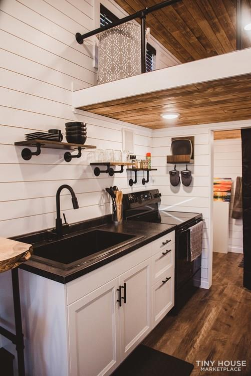 24′ Tiny House with Scorched Shiplap Ceilings & Live Edge Bartop