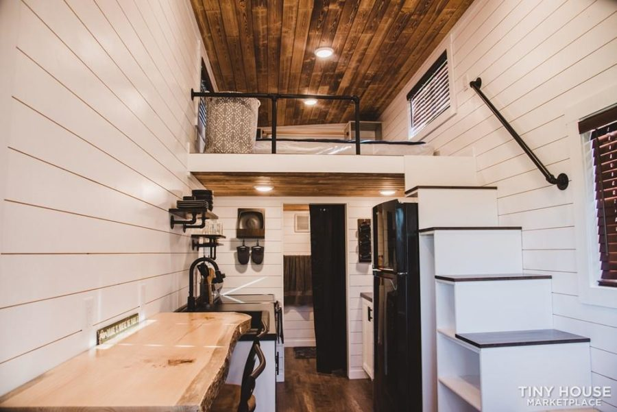24′ Tiny House with Scorched Shiplap Ceilings & Live Edge Bartop 10