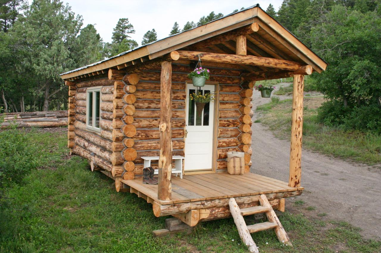 Tiny log cabin by jalopy cabins for Small easy to build cabin plans