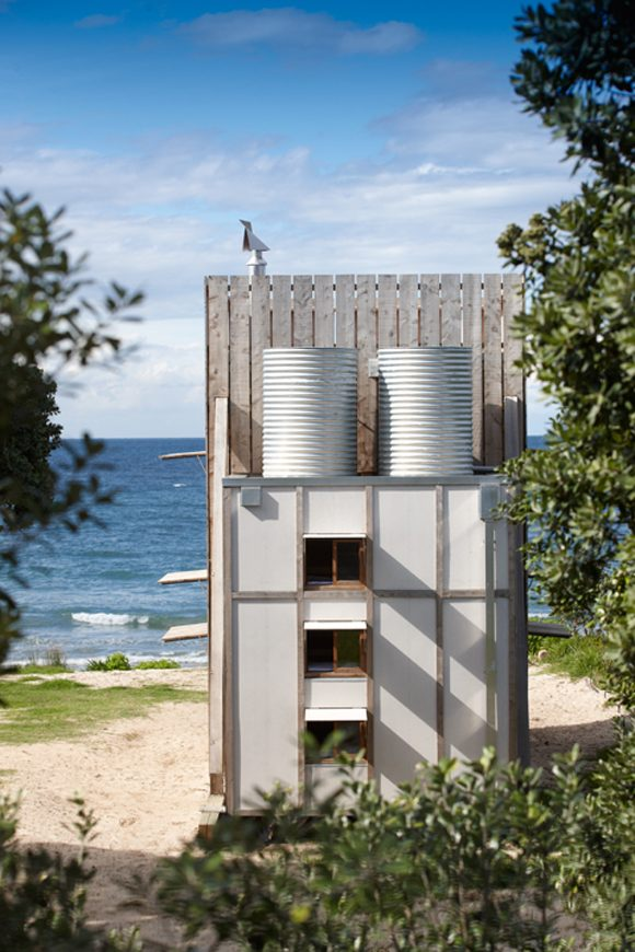 Gravity Water Tanks on Modern Tiny Beach Hut