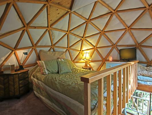 tiny mushroom dome cabin bedroom