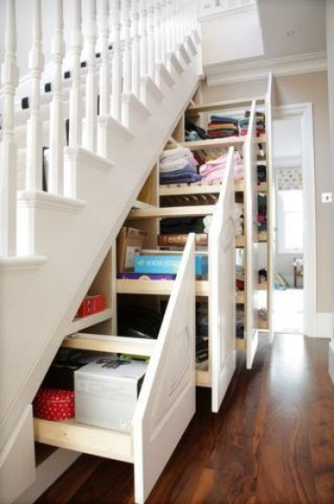 under staircase drawer storage
