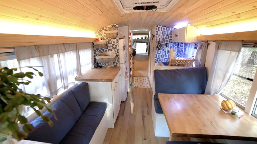 "Family of Four in ""Green Bean"": Their Bus Conversion Home 3"
