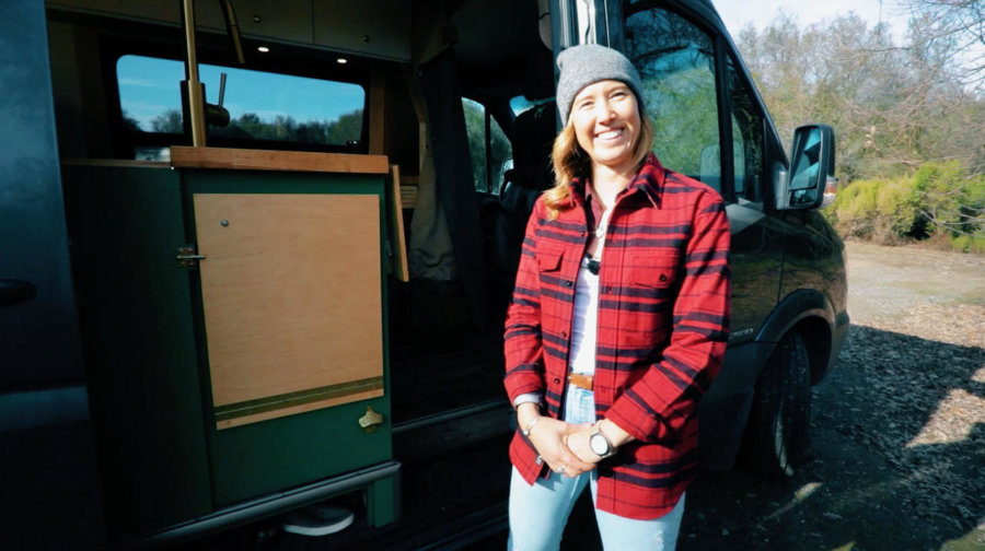 Outdoorsy CPA Lives and Works in her Avocado Sprinter Van