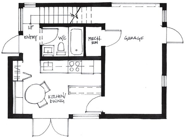 Couple's 500-Square-Foot Small House - First Level Floor Plan of Westcoast Smallworks Studios Small House