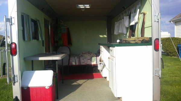 Woman Converts Cargo Trailer Into Stealthy And Cozy Off