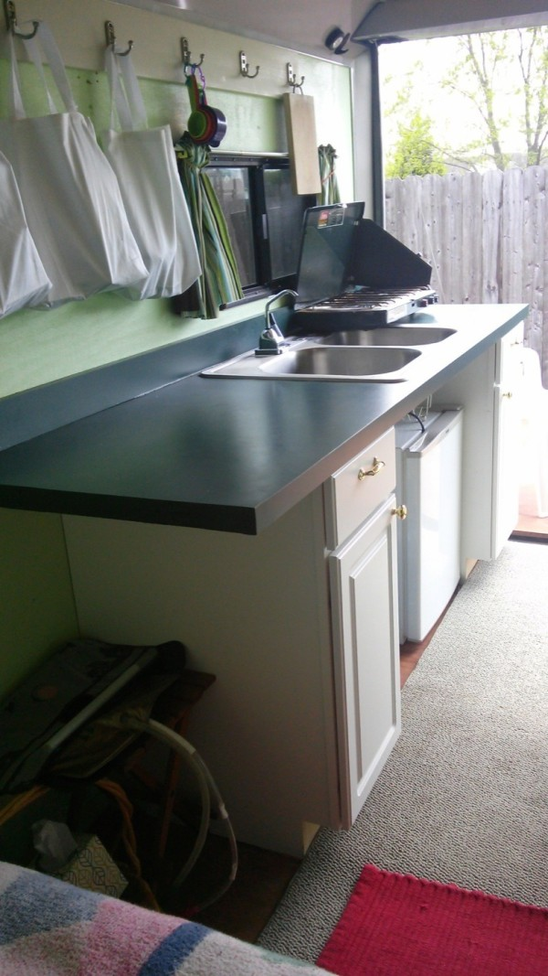 Kitchen in Cargo Trailer to Micro Camper Conversion